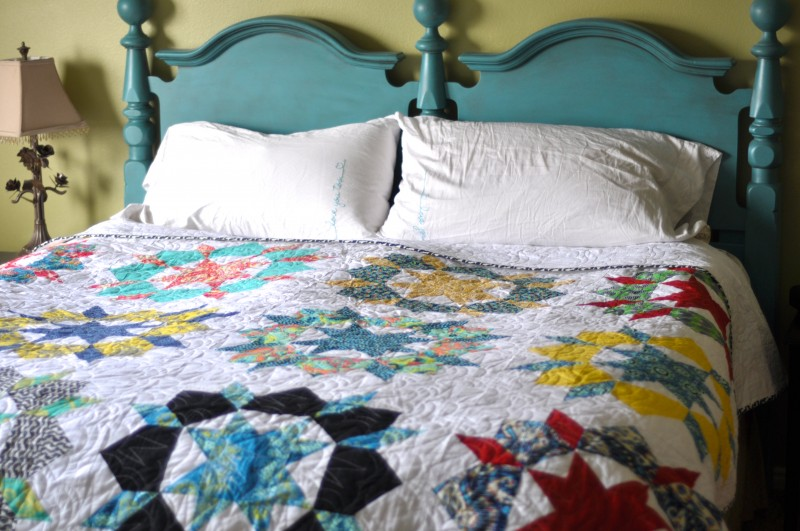 Swoon Quilt on the bed