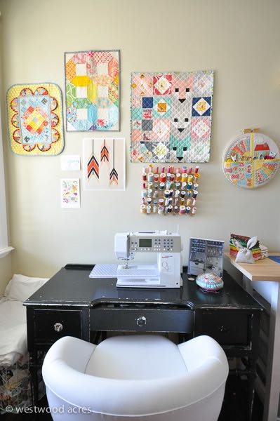Sewing Space Wall at A Crafty Fox Blog